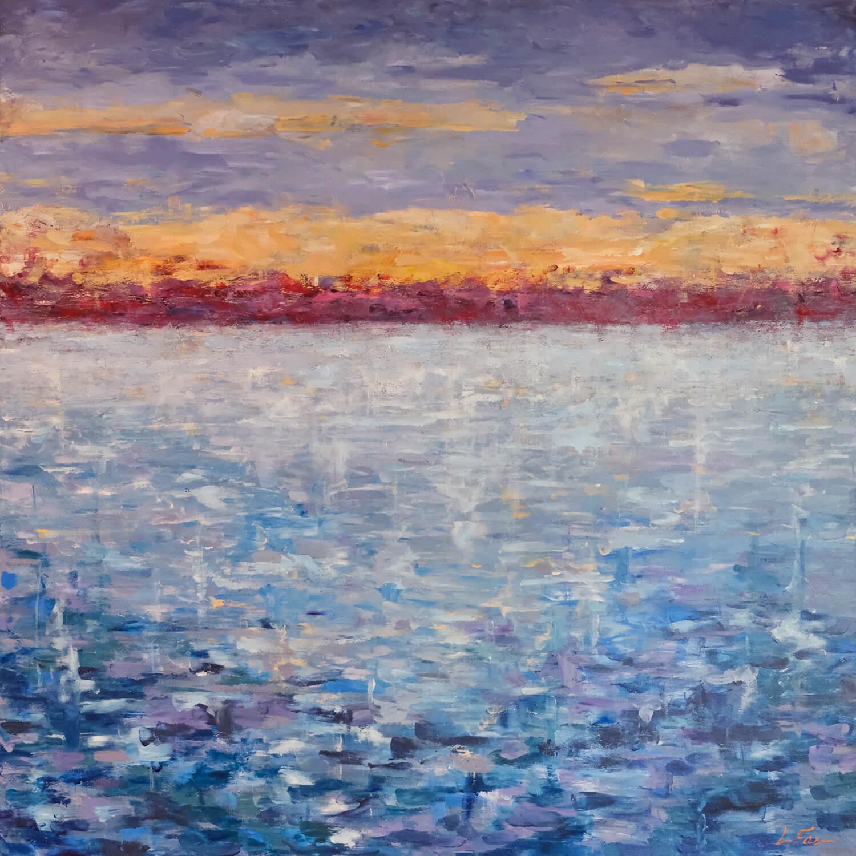 water-red-horizon-painting